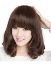 Sweet Girl Hairstyle Lovely Wavy Synthetic Hair Capless Wig About 16 Inches