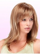 Charming Straight Mix Color Synthetic Hair Capless Wigs With Oblique Bang