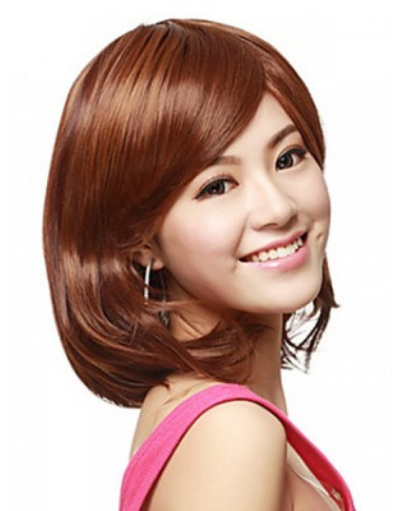 High Quality Brown Straight Synthetic Short Hair Capless Wigs