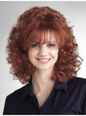 Beautiful Synthetic Curly Capless Medium Length Layered Hairstyle  About 18 Inches
