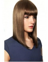 Shoulder Length Sleek Straight Synthetic Hair Capless Wigs