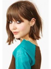 Cut Short Cut Brown Color Capless Synthetic Hair Wigs With Full Bangs