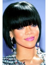 Rihanna Medium Length Black Color Capless Synthetic Hair Wigs With Full Bangs