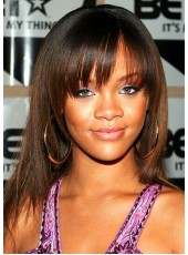 Rihanna Natural Black Hairstyle Long Straight Capless Synthetic Hair Wigs About 18 Inches