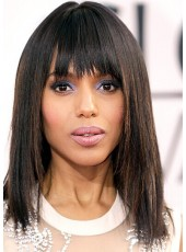 Cute Kerry Washington Elegant Hairstyle Long Straight Highlight Capless Synthetic Wigs