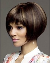 High Quality Mix Color Straight Hairstyle Capless Synthetic Hair Wigs About 10 Inches