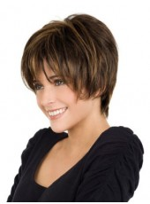 Impressive Sweetheart Short Mixed Color Layered Straight Capless Synthetic Fashion Wig About 10 Inches