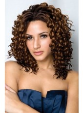 Gorgeous Curly Smooth Choppy African American Hairstyle Front Lace Wig About 18 Inches