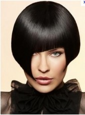 Trendy Short Silky Straight Black Bob Hairstyle with Unique Fringe About 10 Inches