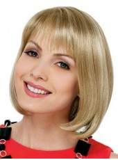 Custom Newest Short Blonde Straight Sweetheart Hairstyle Capless Top Quality Wig