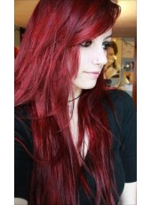 Attractive Celebrity Chic Red Long Capless Virgin Human Hair Wig About 22 Inches
