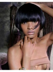 Amazing Bob Hairstyle Black Color Short Straight  Capless Wigs About 6 Inches