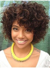 Awesome Curly Bob Cut Synthetic Hairstyle Capless Wigs About 8 Inches