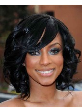 Rihanna Hairstyle Medium Natural Wavy Capless Human Hair Wigs