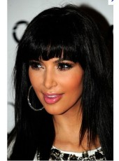 Charming Kim Kardashian Celebrity Hairstyle Medium Straight About 14 Inches