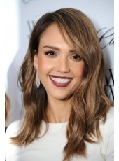 Jessica Alba 100% Human Hair Natural Medium Wavy Capless Wig About 16 Inches