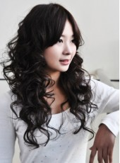 Sweet Curly Hairstyle Natural Black Synthetic Lace Front Wig About 20 Inches