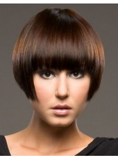 High Quality Soft Bob Hairstyle With Full Bangs Capless Wig About 8 Inches
