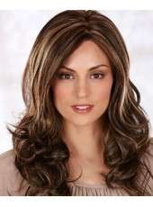 Custom Mix Color Natural Long Bangs Deep Wave Human Remy Hair Prom Wigs