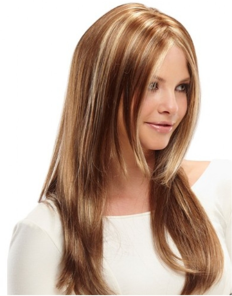 Amazing Long Silky Straight Mix Color Midsplit Synthetic Hair Wigs About 22 Inches