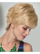 Charming Hairstyle Short Mix Color Loose Wave 100% Human Hair Cheap Wigs