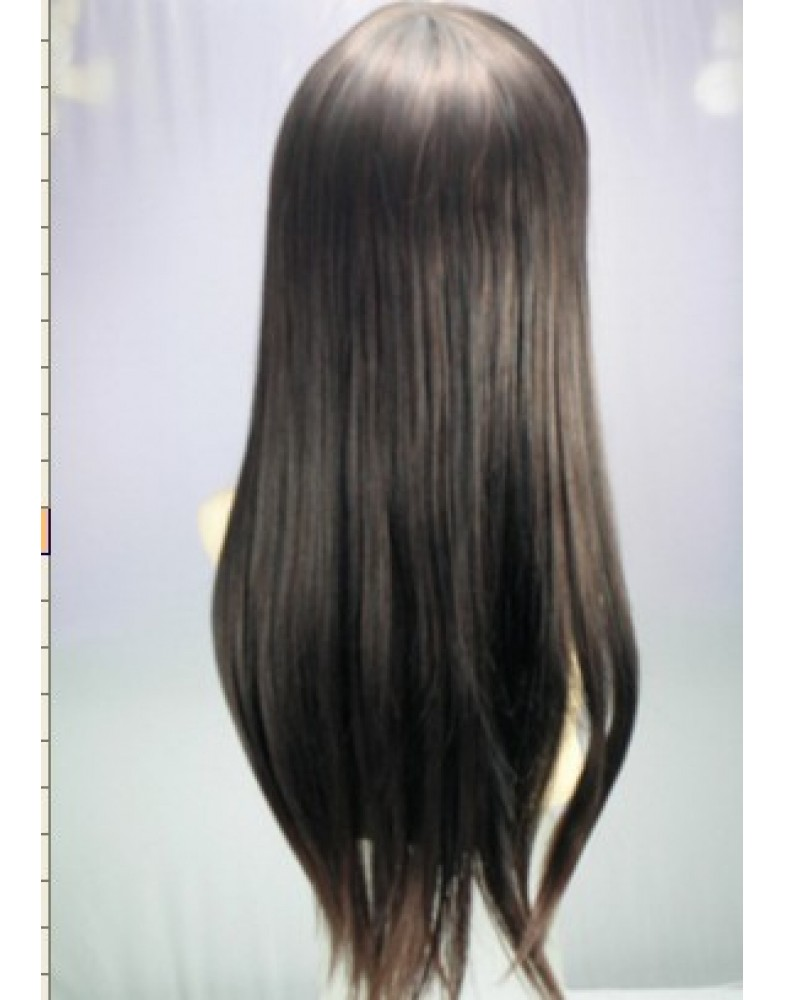 Charming Long Straight Natural Black Full Bang Synthetic Wigs About 24 Inches