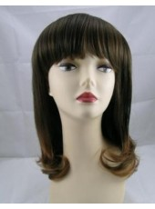 Shoulder Length Wavy Hairstyle Neat Bangs Man Made Hair Wig About 16 Inches