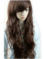 Long  Light Brown Wavy Synthetic Hair Capless Wig  With Oblique Bangs About 24 Inches