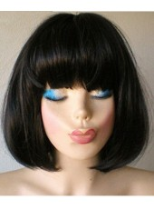 Charming Natural Black Synthetic Hair Capless Bob  Wig About 12 Inches
