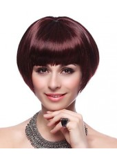 Modern  Deep Wine Color Short Straight Graceful Synthetic Wig About 8 Inches