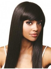 Pure Black Submissive Long Straight Full Bangs Hairstyle 100% African American Synthetic Hair Wig About 20 Inches