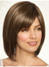 Top Quality Short Brown Straight Lace Front Venation Oblique Bangs Hairstyle Synthetic Hair Wig About 12 Inches