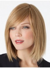 Impressive Charming Straight Medium Shoulder Brown Venation Hairstyle Lace Front Synthetic Wig About 14 Inches