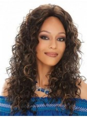 120% African American Human Hair Density Long Sexy Wavy Glueless Lace Front Popular Wig About 20 Inches