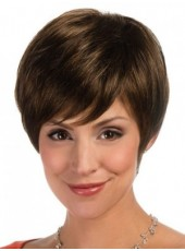 Custom Dark Brown Synthetic Hair Short Venation Hairstyle Capless Popular Wig About 6 Inches