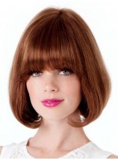 Newest 'C' Hairstyle Short Polish Brown Full Bangs Capless Human Hair Popular Wig About 10 Inches