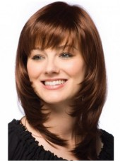Polish Brown Top Quality Medium Straight Capless Popular Wig About 16 Inches
