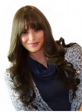 Custom Newest Long Coffee Wavy Regularity Bangs Hairstyle Capless Popular Cheap Wig About 24 Inches