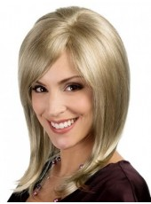Polish Blonde Submissive Long Straight Top Quality Human Hair Wig About 16 Inches