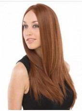 120% Synthetic Hair Density Newest Long Brown Elegant Straight Glueless Lace Front Popular Wig About 24 Inches