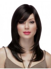 Pure Black Submissive Long Straight Oblique Bangs Hairstyle Glueless Synthetic Wig About 20 Inches