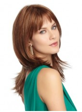 Polish Brown Elegant Long Straight Regularity Bangs Hairstyle Capless Top Quality Human Remy Hair Wig