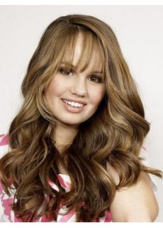 Newest Long Bangs Mixed Color Elegant Wavy Hairstyle Glueless Lace Front Synthetic Wig About 24 Inches