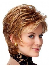Newest Mixed Color Short Layered Wavy Bouncy Venation Hairstyle Capless Human Hair Fashion Wig