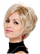 Impressive Mature Lady Short Wavy Bouncy Venation Hairstyle Swiss Lace Front Mixed Color Synthetic Wig
