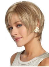 Fashion Trendy Blonde Short Straight Side Bangs Venation Hairstyle Glueless Lace Front Wig