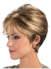 Newest Short Mixed Color Venation Mature Women Hairstyle Capless Synthetic Fashion Popular Wig