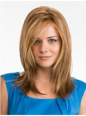 Newest Polish Brown Long Shoulder Straight Side Bangs Hairstyle Hand Made Lace Front Wig About 18 Inches