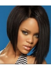 New Fashion Rihanna's Bob Hairstyle Straight Black Wig Lace Front Wig About 10 Inches