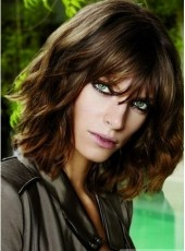 Top Quality Medium Loose Wave Brown Full Bangs 100% Human Hair Wigs